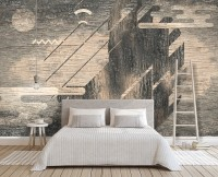 Monochrome Brown Abstract and Fullmoon Wallpaper Mural