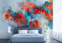 Red Blue Abstract Poppy Flowers Wallpaper Mural
