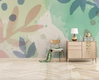 Watercolor Abstract Flowers Wallpaper Mural