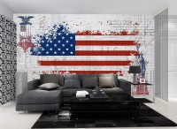 America Flag with Statue of Liberty Wallpaper Mural