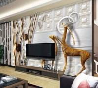 3D Look Fashion Branch and Antelope Wallpaper Mural