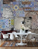 3D Look Chinoiserie and Brick Wall Wallpaper Mural