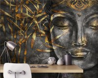 3D Look Concrete Buddha and Gold Style Leaves Wallpaper Mural