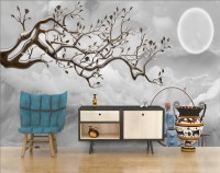 3D Look Leaf Tree with Gray Waves and Fullmoon Wallpaper Mural