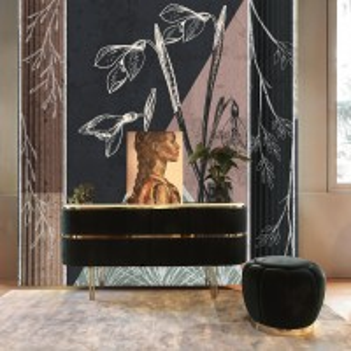 Abstract Floral Art Wallpaper Mural