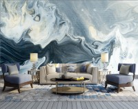 Abstract Watercolor Style Dark Marble Wallpaper Mural