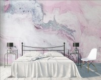 Acrylic Style Pink Gray Marble Effect Wallpaper Mural
