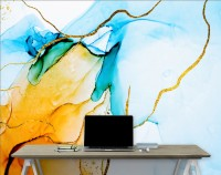 Blue Yellow Watercolor Brush with Gold Lines Wallpaper Mural
