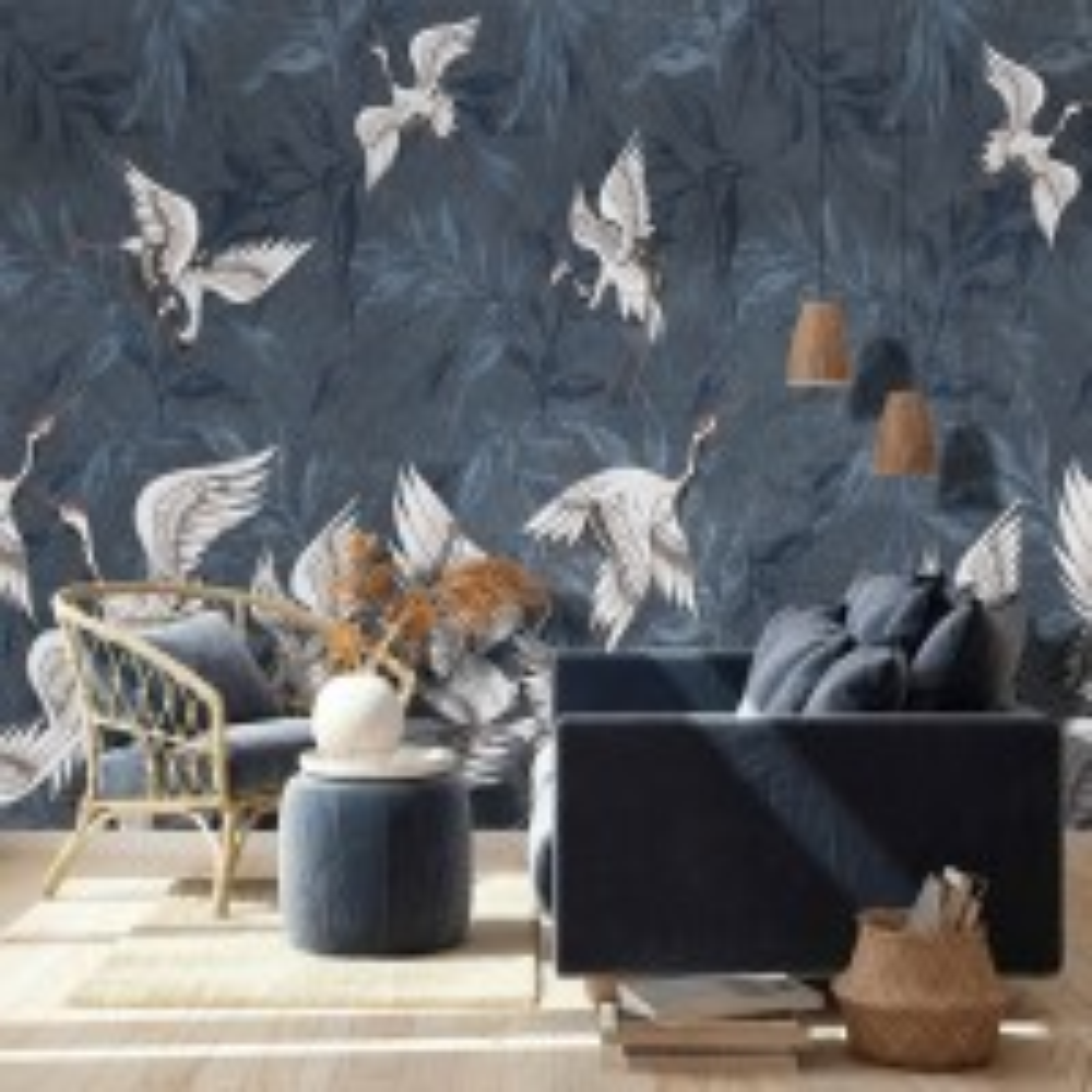 Dark Blue Grunge Style Leaves with Crane Birds Wallpaper Mural
