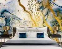 Dark Blue Ocean Brushes with Gold Style Waves Wallpaper Mural