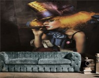 Girl Clown with a Cigar Wallpaper Mural