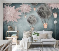 Gray Pink Feather Hot Air Balloon Wallpaper Mural