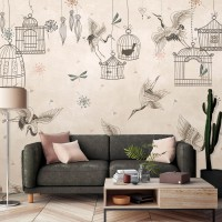 Japanese Crane Birds and Empty Cages Wallpaper Mural