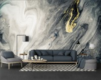 Marble Style Dark Ocean and Gold Brush Wallpaper Mural