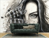 Monochrome Portrait Girl with Black Feathers Wallpaper Mural