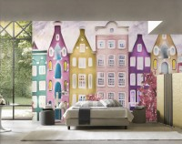 Netherland Style Colorful House and Red Trees Wallpaper Mural