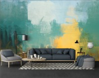 Watercolor Style Green Yellow Abstract Painting Wallpaper Mural