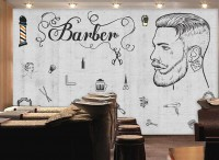 Charcoal Barbershop and Haircut Wallpaper Mural