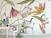 Nursery Tropical Animals with Flowers Wallpaper Mural