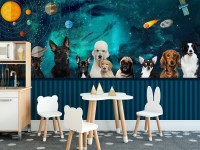 Cartoon Space with Different Dog Wallpaper Mural