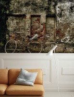 Bicycle with Brick Pattern Wallpaper Mural