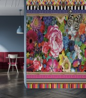 Bohemian Floral Wallpaper with Peony Dianthus Violet Wallpaper Mural
