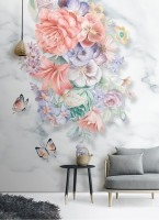 Boho Floral Bouqet with Marble Pattern Wallpaper Mural
