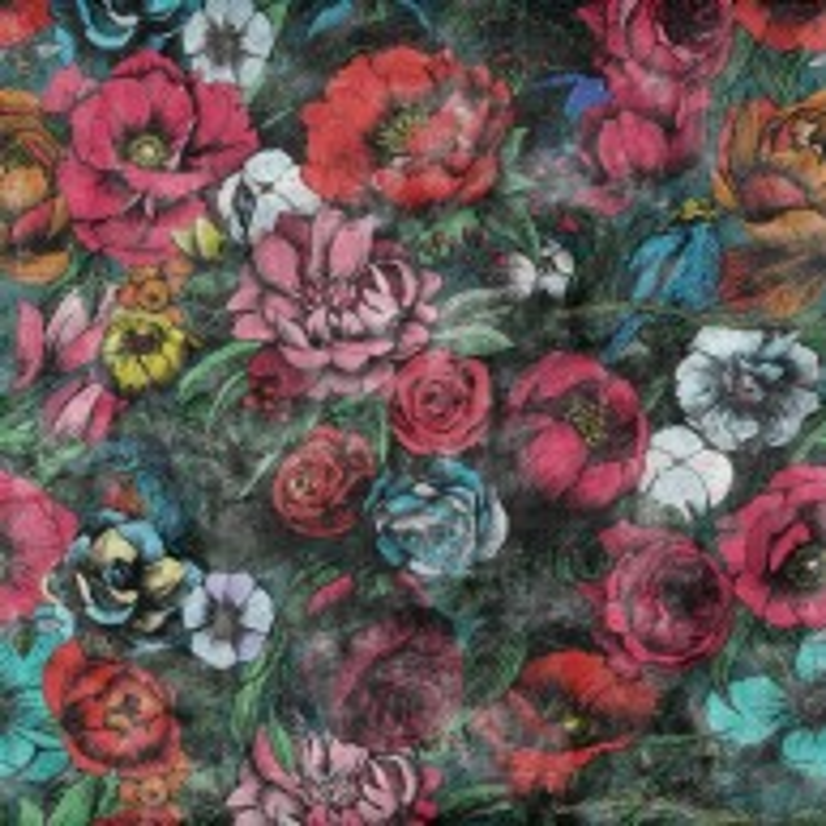 Grunge Style Pink Red Boho Floral Bouqet Pattern Wallpaper Mural