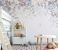 Retro Dark Floral Art Wallpaper Mural