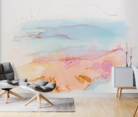 Abstract Orange Blue Brush Wallpaper Mural