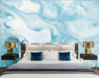 Acrylic Painting Fresh Blue Waves Wallpaper Mural