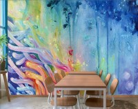 Colorful Watercolor Seaweed Wallpaper Mural