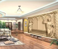 3D Embossed Look Byzantine Sculptures Wallpaper Mural