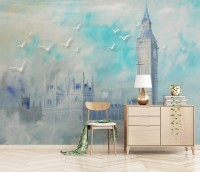 Oil Painting Clock Tower and Castle Wallpaper Mural