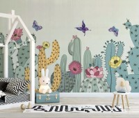 Watercolor Drawing Cactuses and Butterfly Wallpaper Mural