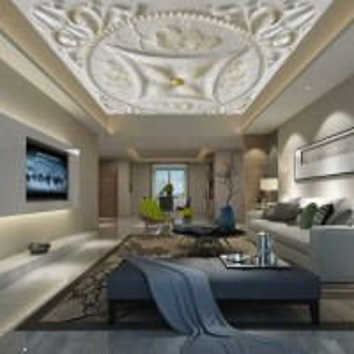 3D  Look Embossed Cement Ceiling Wallpaper Mural