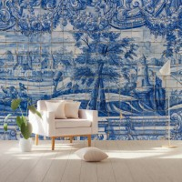 Blue Chinoiserie with Gold Brush Tile Pattern Wallpaper Mural