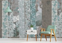 Chinoserie Turquoise Peacock Pattern Wallpaper Mural