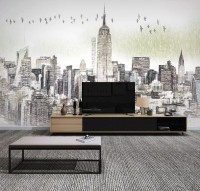 Monochrome Charcoal New York City Wallpaper Mural
