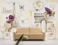 Colorful Drawing Eiffel Tower Wallpaper Mural