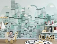 Monochrome City View Wallpaper Mural