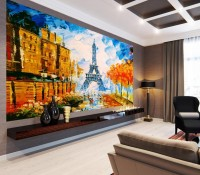 Oil Painting Eiffel Tower Landscape Wallpaper Mural