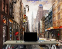Oil Paintinging Style Street View of New York City Landscape Wallpaper Mural