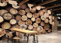 Coffee Shop with Wood Wall Wallpaper Mural