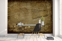 Compass with Vintage Train Wallpaper Mural