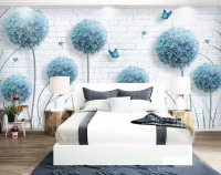 Dandelion Floral and Butterfly Wallpaper Mural