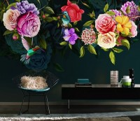 Dark Colorful Flowers Wallpaper Mural
