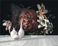 Dark Floral Bouqet with Red Peony and Lily Wallpaper Mural