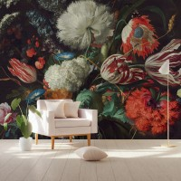 Dark Floral Bouquet with Tulips Wallpaper Mural