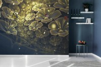 Dark Floral of Yellow Light Wallpaper Mural